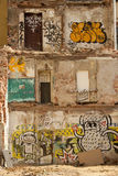 Costruzione distrutta con il graffity Fotografie Stock