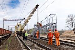 Costruzione ferroviaria a Kiev, Ucraina Immagine Stock
