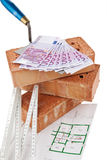 Costruzione, finanziamento, imprese edilizie. Mattone Immagini Stock