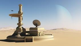 Costruzione futuristica dell'avanposto del deserto di fantascienza Illustrazione Vettoriale