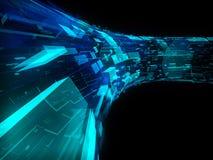 Costruzione futuristica trasparente blu e verde Immagini Stock Libere da Diritti