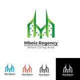 Costruzione gemellata con il modello di logo della lettera m. Fotografia Stock Libera da Diritti