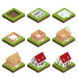 Costruzione graduale dell'insieme isometrico di una casa con mattoni a vista Processo di costruzione della Camera royalty illustrazione gratis