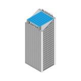 Costruzione isometrica del centro di affari con gli elevatori ed il tetto dei pannelli solari Su fondo bianco Illustrazione di ve Immagini Stock