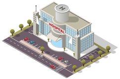 Costruzione isometrica dell'ospedale di vettore Fotografie Stock Libere da Diritti