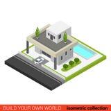 Costruzione isometrica piana dello stagno del cortile della casa della famiglia di vettore 3d Fotografia Stock
