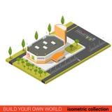 Costruzione isometrica piana di vendita del centro commerciale del supermercato 3d infographic Immagine Stock Libera da Diritti