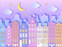 Costruzione, luna, stelle e nuvole illustrazione vettoriale
