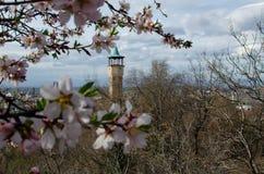 Costruzione medievale della torre di orologio in citt? di Filippopoli, Bulgaria fotografia stock