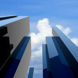 costruzione moderna 3d su un cielo della priorità bassa Immagini Stock