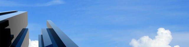 costruzione moderna 3d su un cielo della priorità bassa Immagine Stock Libera da Diritti
