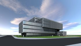 Costruzione moderna di concetto dell'architetto immagini stock