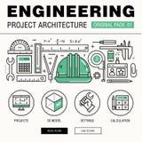 Costruzione moderna di ingegneria grande pacchetto Linea sottile archit delle icone immagine stock