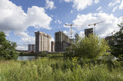 Costruzione multipiana in costruzione, Mosca, Russia Immagini Stock Libere da Diritti