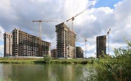 Costruzione multipiana in costruzione, Mosca, Russia Fotografie Stock Libere da Diritti