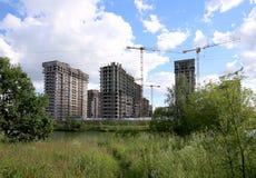 Costruzione multipiana in costruzione, Mosca, Russia Immagine Stock Libera da Diritti