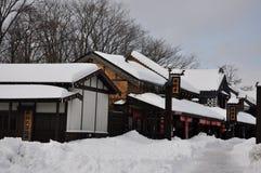 Costruzione nella neve Fotografia Stock