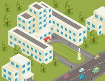 Costruzione piana isometrica dell'università 3d o dell'istituto universitario royalty illustrazione gratis