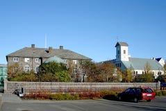 Costruzione principale di Althingi del Parlamento dell'Islanda Fotografia Stock