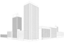 Costruzione residenziale del wireframe della città Fotografie Stock