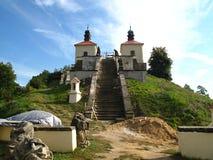 Costruzione sacra del monumento nazionale vicino alla repubblica Ceca di Úšt?k del villaggio Fotografie Stock