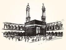 Costruzione simbolica santa di Kaaba nel pellegrinaggio alla Mecca di pellegrinaggio del disegno di schizzo di vettore di islam illustrazione vettoriale