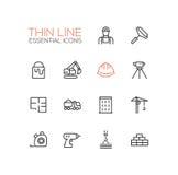 Costruzione - singola linea sottile icone messe Immagini Stock Libere da Diritti