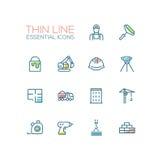 Costruzione - singola linea sottile icone messe Immagine Stock