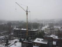 Costruzione sotto la neve Immagine Stock Libera da Diritti