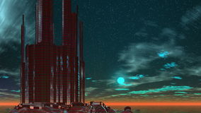 Costruzione su un pianeta fantastico illustrazione vettoriale