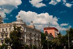 Costruzione sulle vie di Kiev Immagine Stock