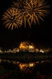 Costruzione tailandese nordica di stile del luang noioso di Kham del fuoco d'artificio nel ratchaphreukin reale Chiang Mai, Taila Fotografia Stock Libera da Diritti