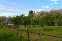 Costruzione tipica e terra anteriore del contadino ricco in villaggio ucraino XIX a C fotografia stock libera da diritti