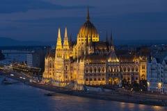 Costruzione ungherese del Parlamento - Budapest - Ungheria Fotografia Stock Libera da Diritti