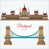 Costruzione ungherese del Parlamento ed il ponte a catena Il simbolo di Budapest, Ungheria Fotografia Stock