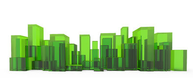 Costruzione verde isolata su fondo bianco Fotografia Stock