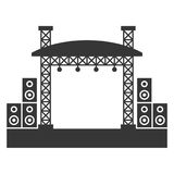 Costruzioni all'aperto della fase di concerto con l'icona del sistema acustico Vettore Fotografia Stock