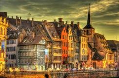 Costruzioni all'argine a Strasburgo Fotografia Stock