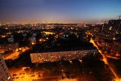 Costruzioni alla notte a Mosca, Russia Fotografie Stock