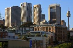 Costruzioni alte del grattacielo della città di Sydney. Fotografia Stock
