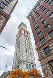 Costruzioni antiche e moderne dell'orizzonte di Boston, mA immagine stock libera da diritti