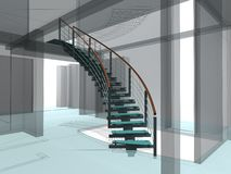 Costruzioni astratte 02 delle scale a spirale Fotografie Stock