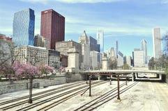 Costruzioni in Chicago in primavera Fotografia Stock Libera da Diritti