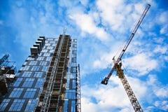 Costruzioni, cielo e gru di vetro a Oslo Fotografie Stock Libere da Diritti