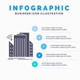Costruzioni, citt?, sensore, modello astuto e urbano di Infographics per il sito Web e presentazione Icona grigia di glifo con in illustrazione vettoriale