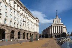 Costruzioni del Consiglio dei Ministri e di precedente Camera del partito comunista a Sofia, Bulgaria fotografia stock