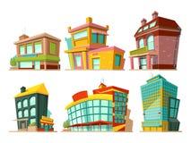 Costruzioni del fumetto Isolato messo illustrazioni di vettore su bianco illustrazione di stock