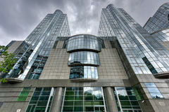Costruzioni del Parlamento Europeo - Bruxelles, Belgio Fotografia Stock