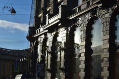 Costruzioni della banchina del canale di San Pietroburgo vecchie Fotografia Stock Libera da Diritti
