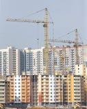 Costruzioni della città della costruzione delle gru a torre Fotografia Stock Libera da Diritti